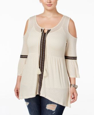 American Rag Trendy Plus Size Cold-Shoulder Peasant Top, Only at Macy's