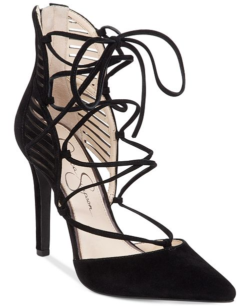 57d15161e10 Jessica Simpson Cynessa Lace-Up Pointy-Toe Pumps   Reviews ...