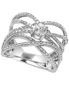 Pavé Classica by EFFY® Diamond Crisscross Ring (9/10 ct. t.w.) in 14k White Gold