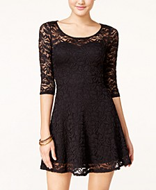 Lace Illusion Skater Dress