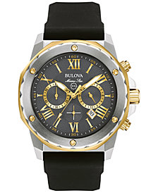 Bulova Men's Chronograph Marine Star Black Silicone Strap Watch 44mm 98B277