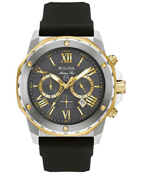 Bulova Men's Chronograph Marine Star Black Silicone Strap Watch 44mm 98B277