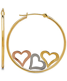 Tri-Color Triple Heart Hoop Earrings in 10k Gold, 1 1/8 inch