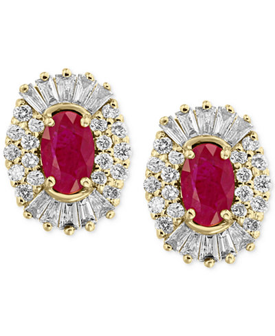 Amoré by EFFY® Certified Ruby (1-1/8 ct. t.w.) and Diamond (5/8 ct. t.w.) Earrings in 14k Gold, Created for Macy's