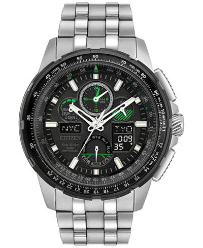 Citizen Eco-Drive Men's Analog-Digital Chronograph Skyhawk A-T Stainless Steel Bracelet Watch 47mm JY8051-59E