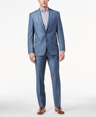 Kenneth Cole Reaction Light Blue Sharkskin Slim-Fit Suit - Suits ...
