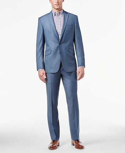 Kenneth Cole Reaction Light Blue Sharkskin Slim-Fit Suit - Suits ...