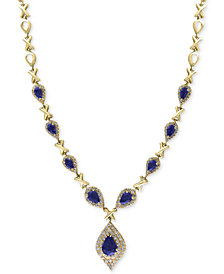 EFFY® Final Call Sapphire (3-3/4 ct. t.w.) and Diamond (1-1/6 ct. t.w.) Necklace in 14k Gold
