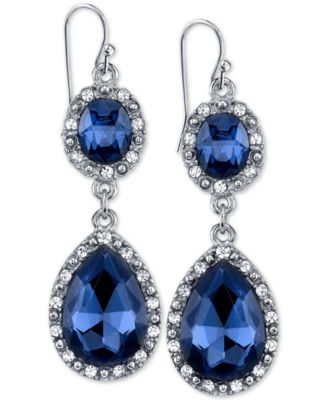 Image of 2028 Silver-Tone Blue Stone Pavé Double Drop Earrings