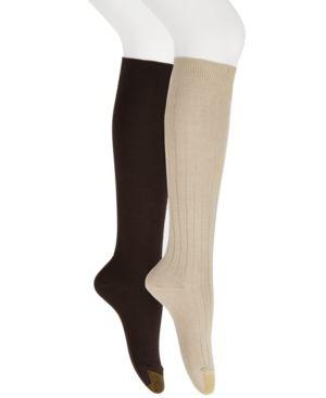 GOLD TOE Women'S 2-Pk. Ultra Soft Knee High Socks in Khaki/Brown