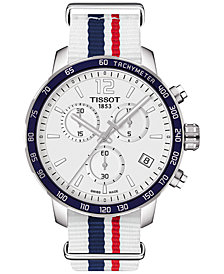 Tissot Unisex Swiss Chronograph Quickster Blue, Red & White Strap Watch 42mm T0954171703709