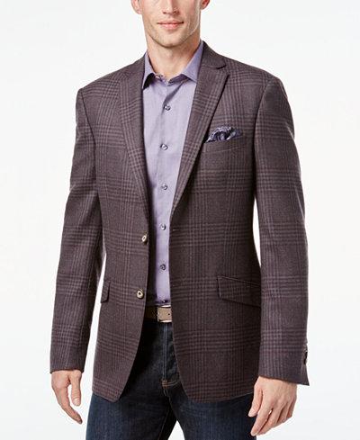 Tallia Men's Slim-Fit Purple and Gray Plaid Sport Coat