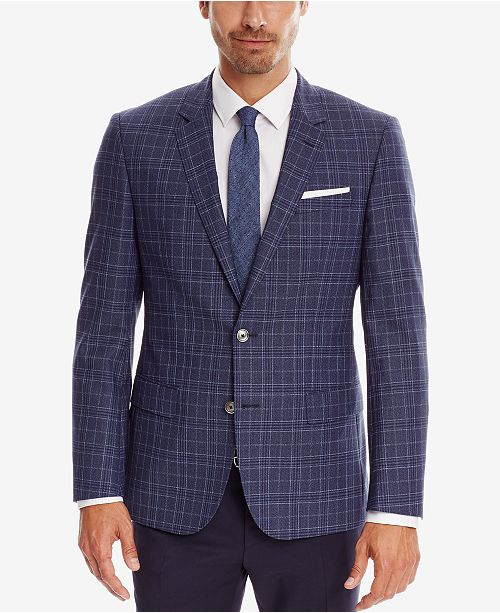 Hugo Boss BOSS Men's Slim-Fit Plaid Virgin Wool Sport Coat