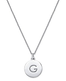 "Silver-Tone Disc Initials 18"" Pendant Necklace"