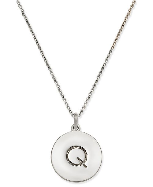 """kate spade new york  Silver-Tone Disc Initials 18"""" Pendant Necklace"""
