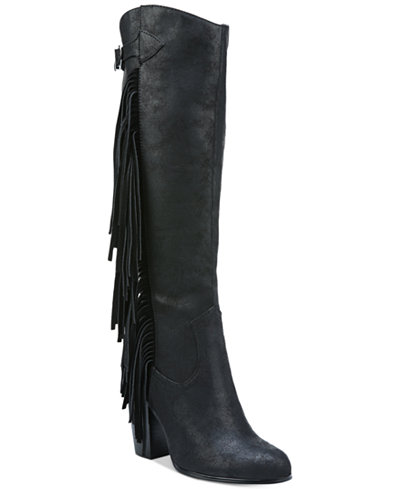 Carlos by Carlos Santana Roslyn Fringe Block-Heel Tall Boots ...