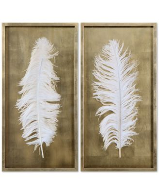 Uttermost White Feathers 2 Pc. Shadow Box Wall Art