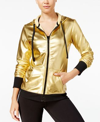 Material Girl Active Juniors' Metallic Hoodie, Only at Macy's