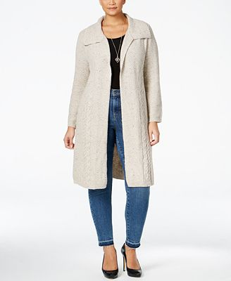 Style & Co. Plus Size Cable-Knit Duster Cardigan, Created for ...