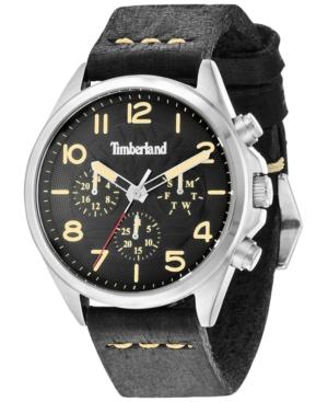 Timberland Men's Barlett Black Leather Strap Watch 44x49mm TBL14844JS02