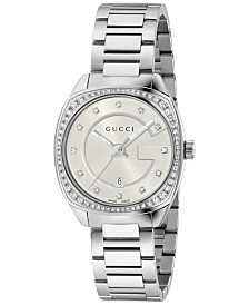 Gucci Women's Swiss GG2570 Diamond (3/8 ct. t.w.) Stainless Steel Bracelet Watch 29mm YA142505