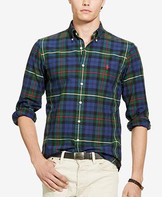 Polo Ralph Lauren Men's Plaid Oxford Sport Shirt - Casual Button ...