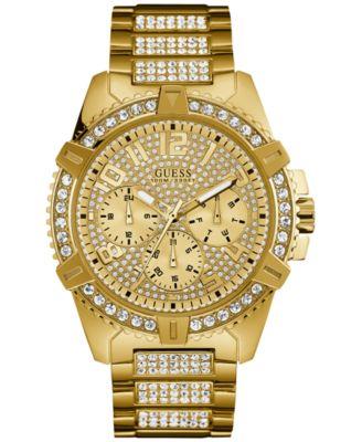 guess menu0027s crystal goldtone stainless steel bracelet watch 46mm u0799g2