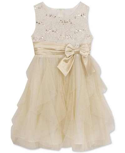 Rare Editions Lace Bodice Glitter Tulle Dress Girls 7 16