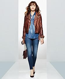 Moto Jacket, Denim Shirt & Skinny Jeans