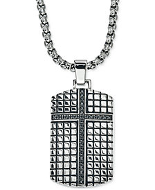 Esquire Men's Jewelry Diamond Cross Dog Tag Pendant Necklace (1/3 ct. t.w.) in Stainless Steel, Created for Macy's