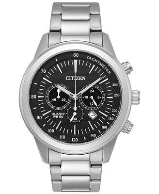 Citizen Men's Chronograph Quartz Stainless Steel Bracelet Watch 46mm AN8150-56E, A Macy's Exclusive Style