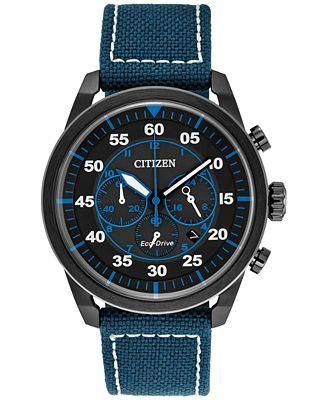 Citizen Eco-Drive Men's Chronograph Avion Blue Nylon Strap Watch 45mm CA4215-39E, A Macy's Exclusive