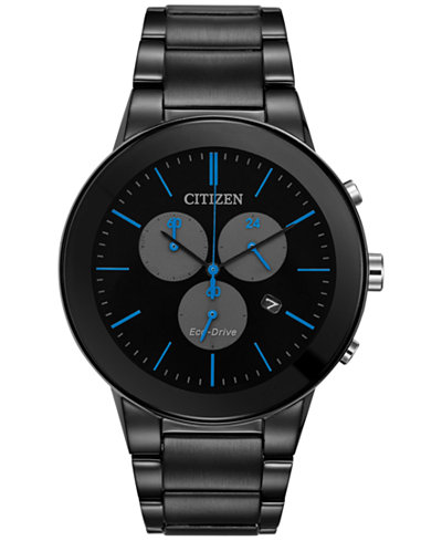 Citizen Eco-Drive Men's Chronograph Axiom Black-Ion Plated Stainless Steel Bracelet Watch 43mm AT2245-57G, A  Exclusive