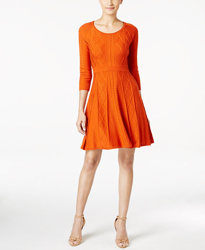 Calvin Klein Intarsia Fit Amp Flare Sweater Dress Dresses