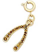 INC International Concepts Gold-Tone Crystal Wishbone Charm, Created for Macy's