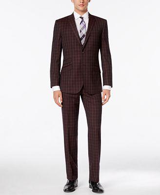 English Laundry Men's Red Plaid Slim-Fit Suit