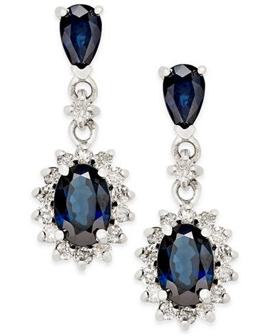 Sapphire (2 ct. t.w.) and Diamond (1/3 ct. t.w.) Drop Earrings in 14k White Gold