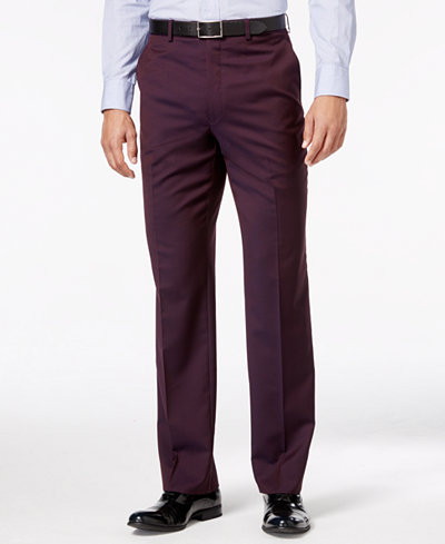 Shaquille O'Neal Collection Men's Wine Solid Big and Tall Classic-Fit Pants