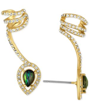 Rachel Rachel Roy Gold-Tone Abalone-Look Stone and Pave Wrap Ear Climber with Cuff