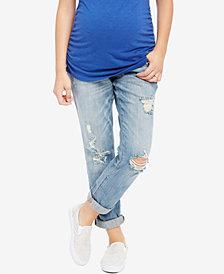 Indigo Blue Maternity Distressed Light Wash Boyfriend Jeans