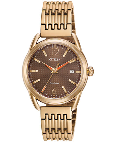 Citizen Drive from Citizen Eco-Drive Women's Rose Gold-Tone Stainless Steel Bracelet Watch 34mm FE6083-56X