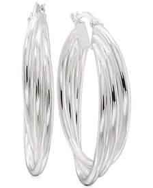 Triple Band Hoop Earrings in Sterling Silver