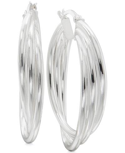 Triple Band Hoop Earrings in Sterling Silver
