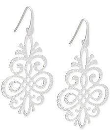 Filigree Pattern Drop Earrings in Sterling Silver