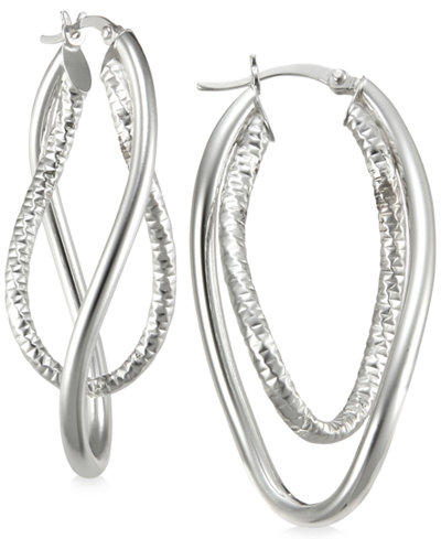 Smooth and Textured Twisty Hoop Earrings in Sterling Silver