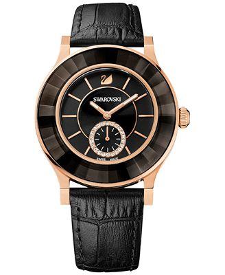 Swarovski Women's Swiss Octea Classica Black Leather Strap Watch 39mm 1181762