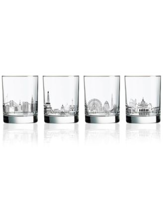 Skylines 4-Pc. Double Old Fashioned Glass Set