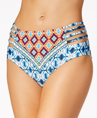 Kenneth Cole Tribe Vibes High-Waist Bikini Bottoms