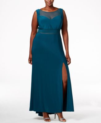 Nightway Plus Size Illusion-Neckline Empire Gown