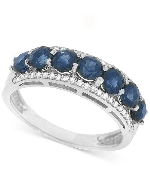 Macy's Sapphire (1-3/8 ct. t.w.) and Diamond (1/8 ct. t.w.) Ring in 14k White Gold